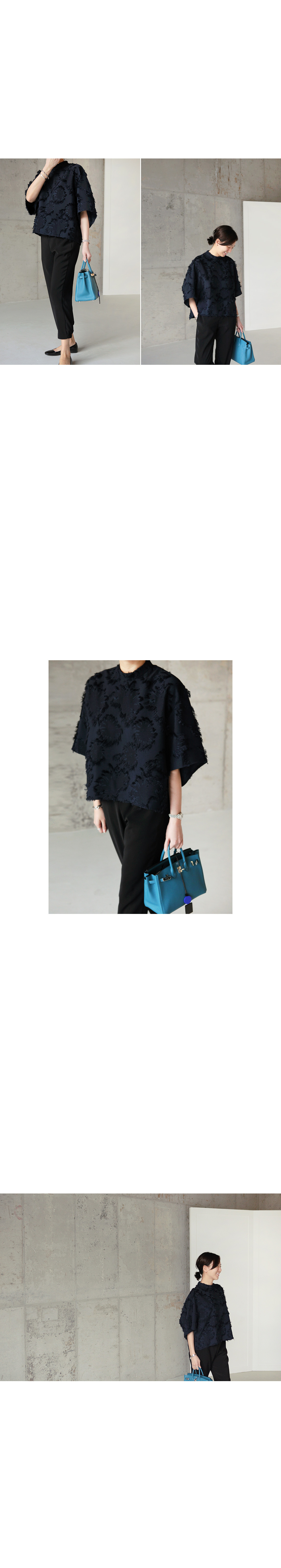 Fringed Pattern Wide Fit Blouse|