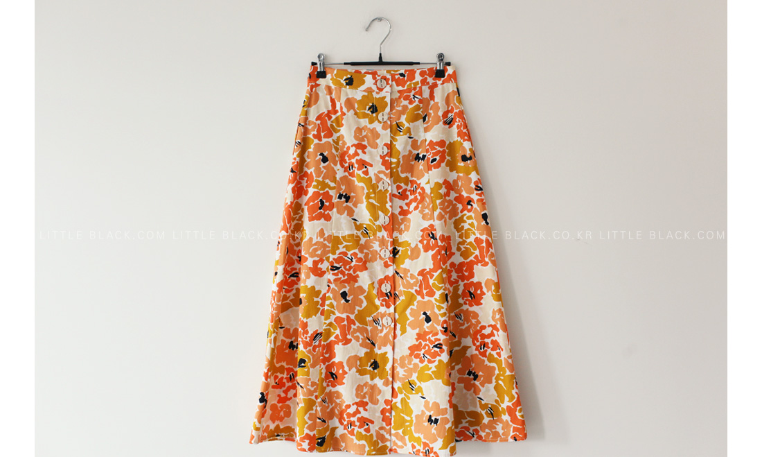 Floral Print Button Front Skirt|