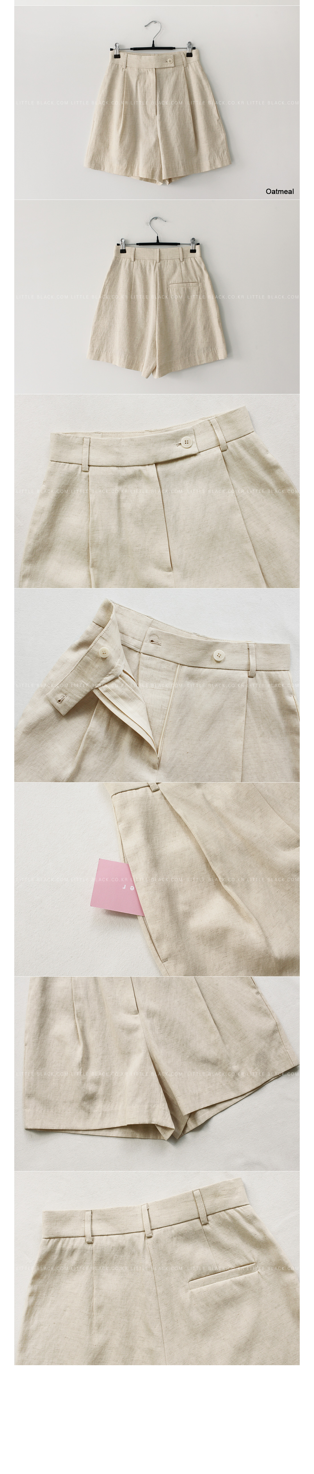 Linen Blend Pleated Shorts|