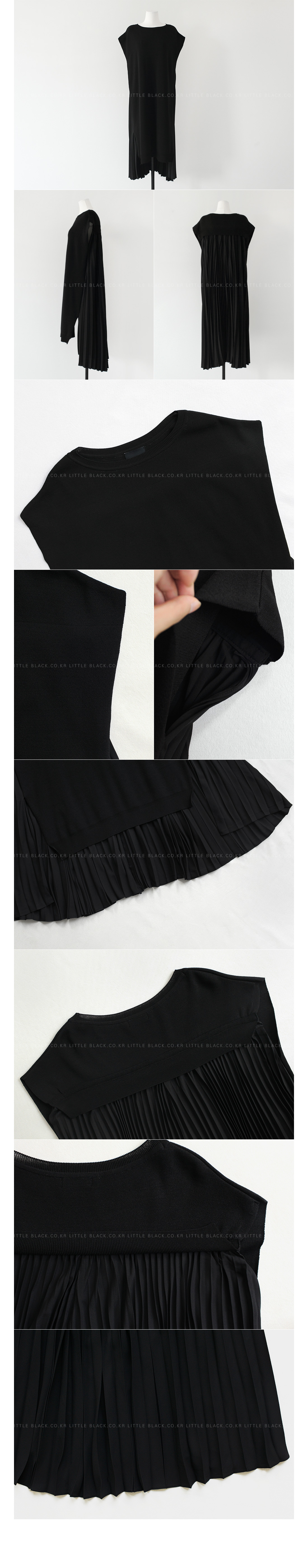 Pleated Back High-Low Hem Dress|