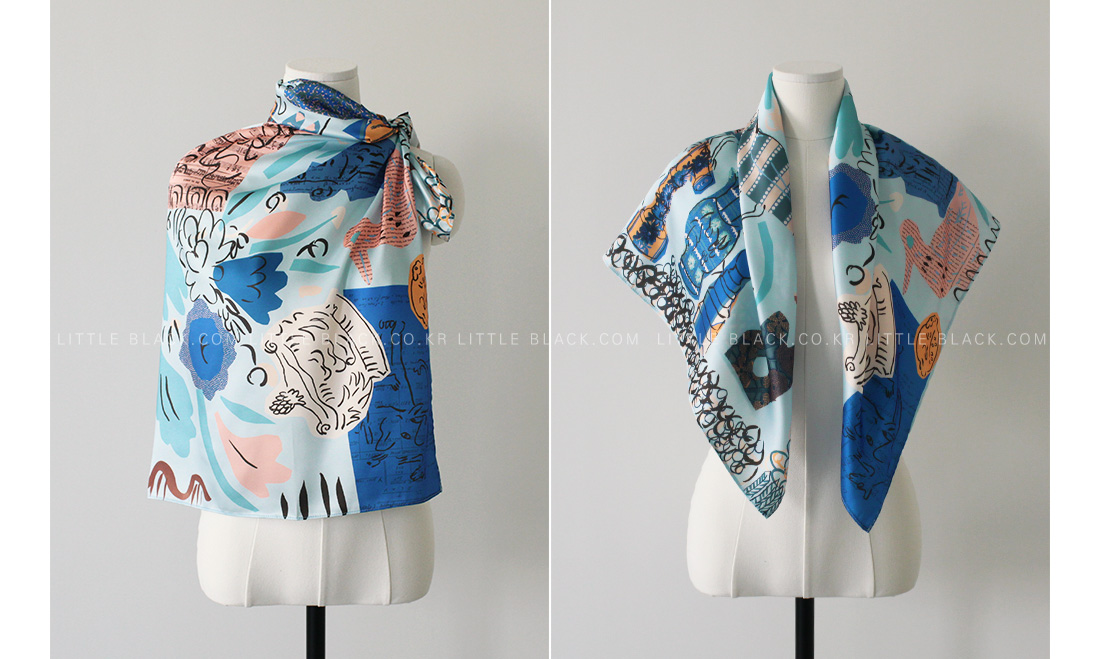 Multicolored Abstract Print Square Scarf|