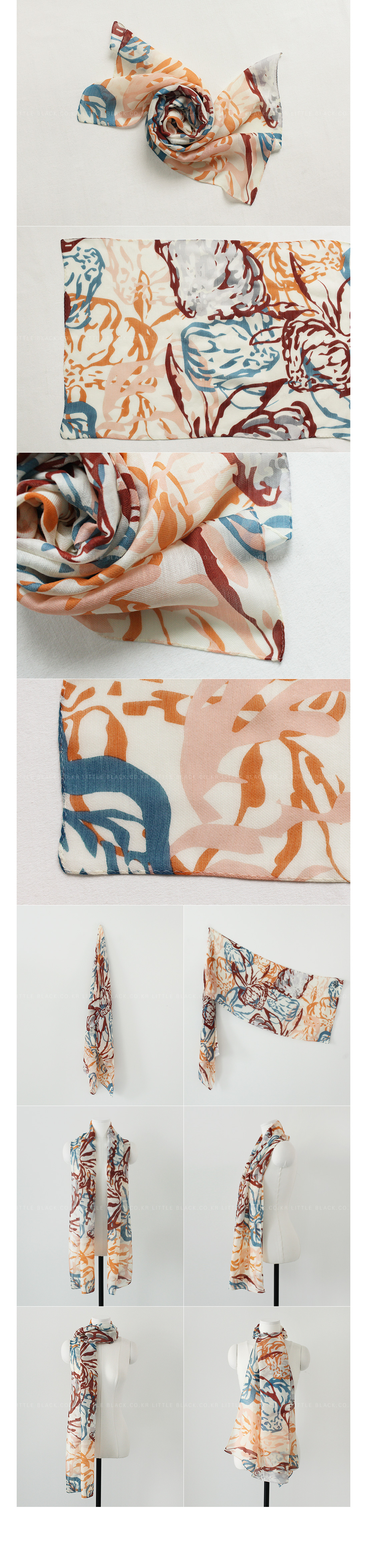 Multicolored Abstract Print Scarf|