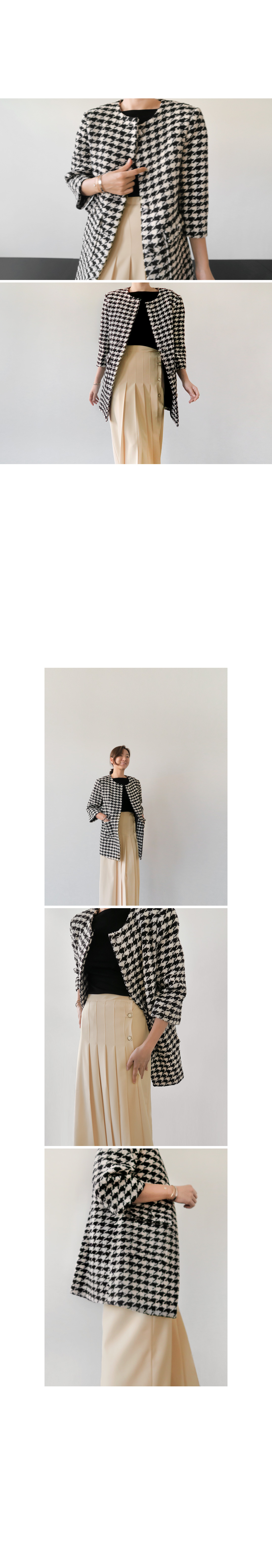 Houndstooth Pattern 3/4 Sleeve Coat|