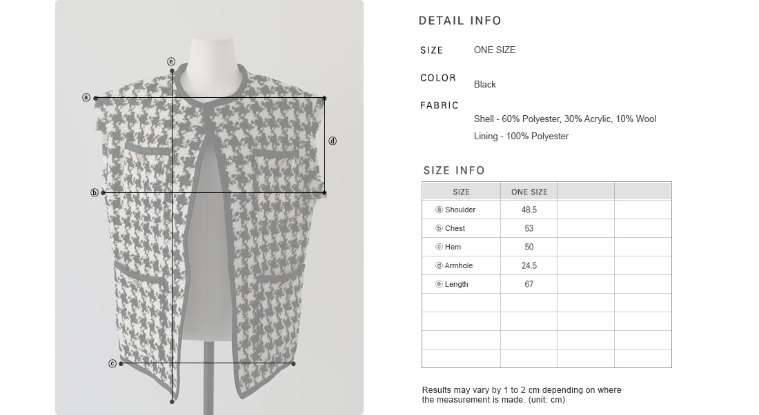 Quilted Lining Houndstooth Check Vest|