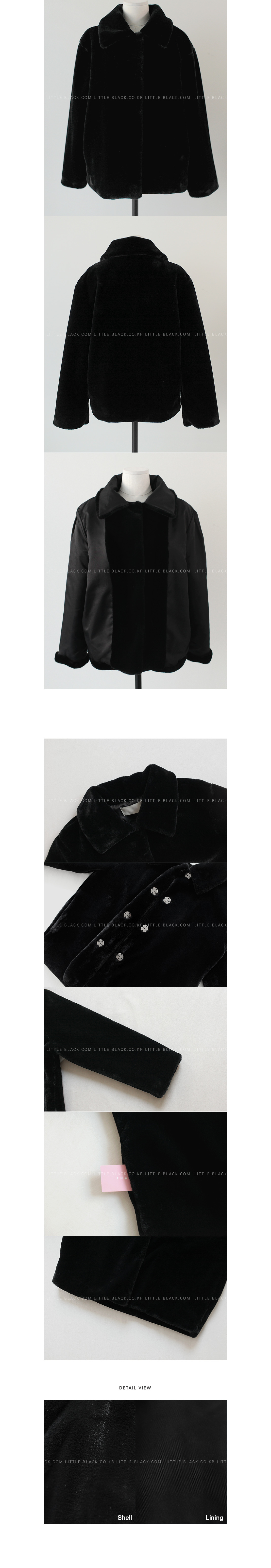 Pointed Collar Faux Fur Jacket|