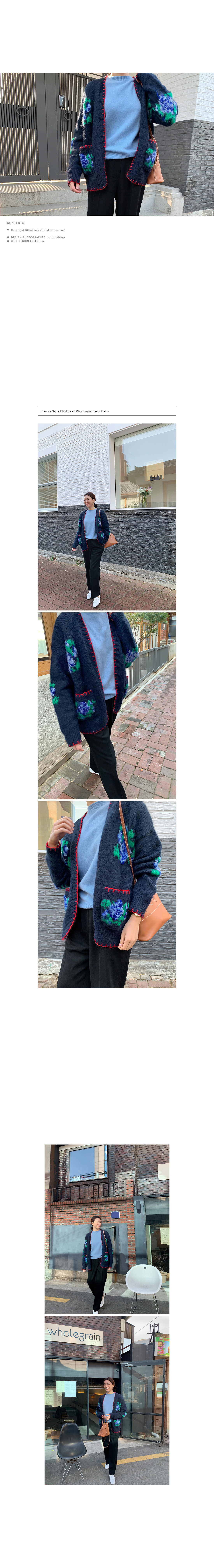 Floral Embroidery Contrast Trim Knit Cardigan|