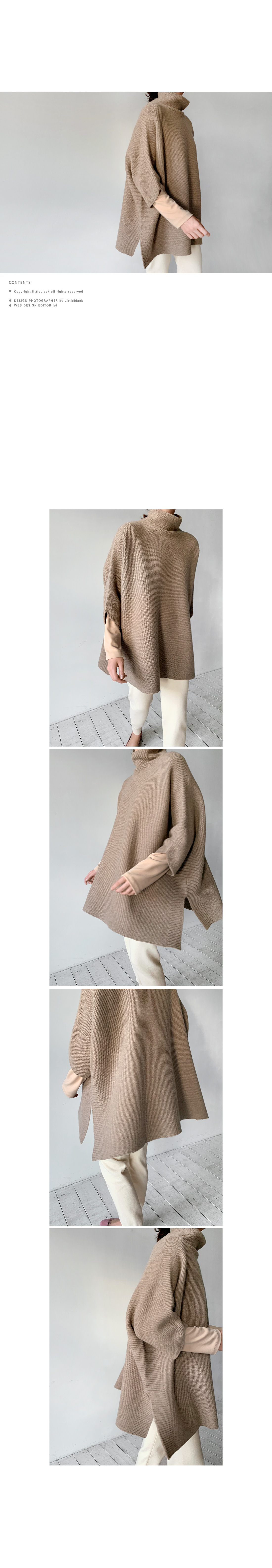 High Neck Whole Garment Knit Poncho|