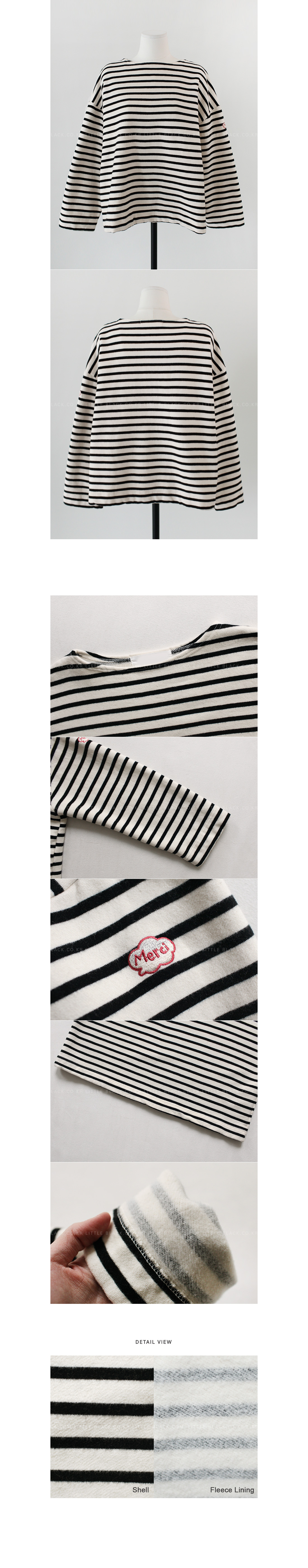 Shoulder Applique Accent Striped T-Shirt|