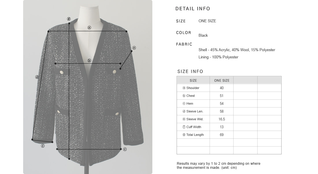 Antique Button Accent Boucle Jacket|