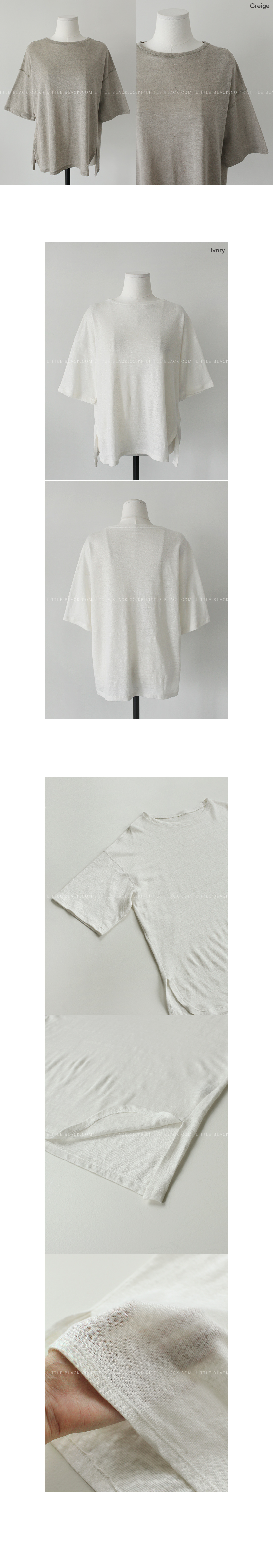 Drop Shoulder Linen T-Shirt|