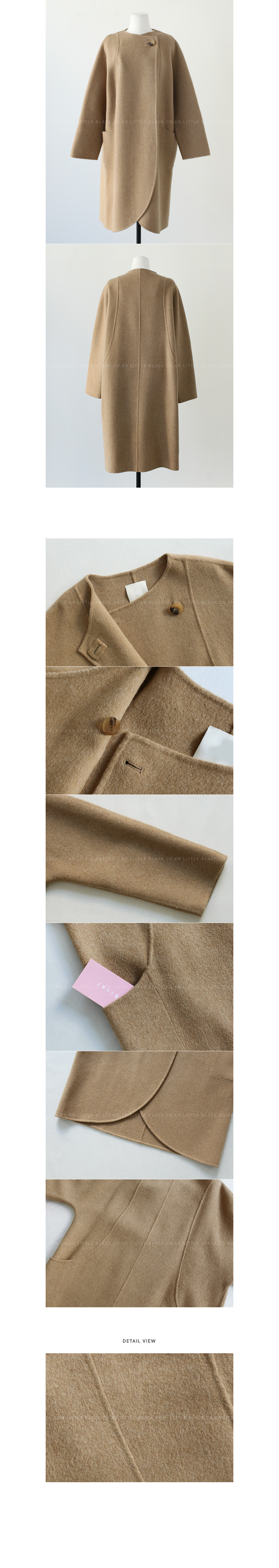 Slip Pocket Curved Hem Coat|