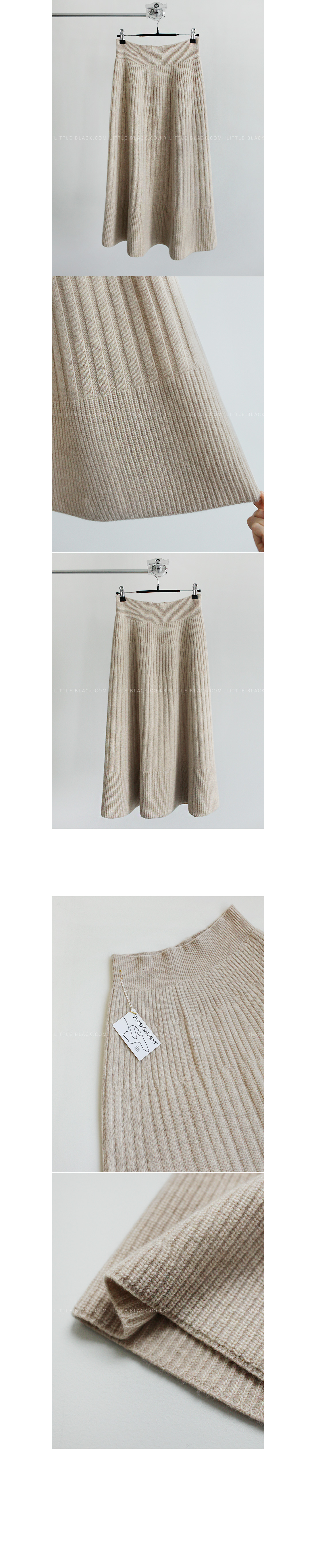 Mixed Pattern Flared Knit Skirt|