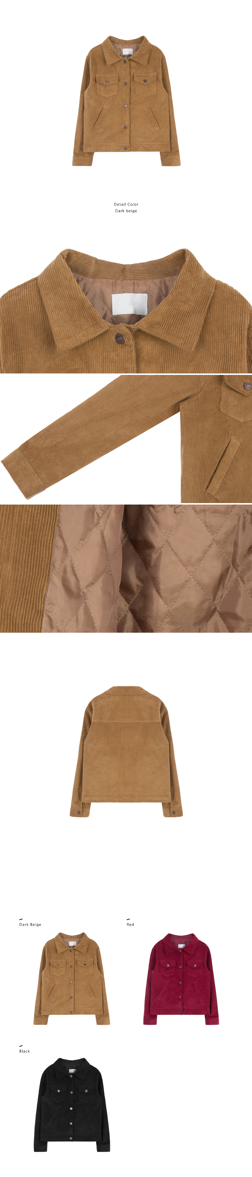 Quilt Lined Corduroy Button-Down Jacket|
