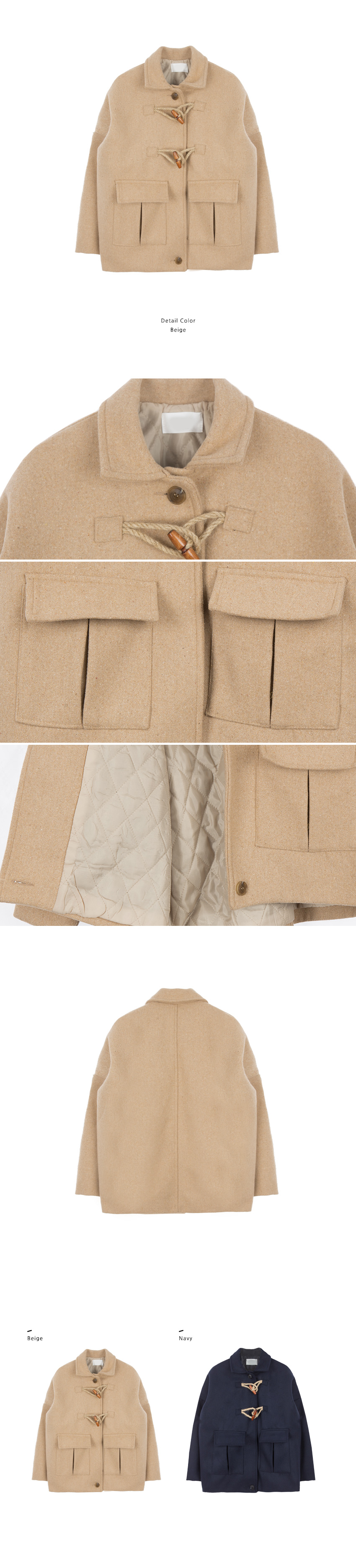 Quilt Lined Toggle Front Coat|