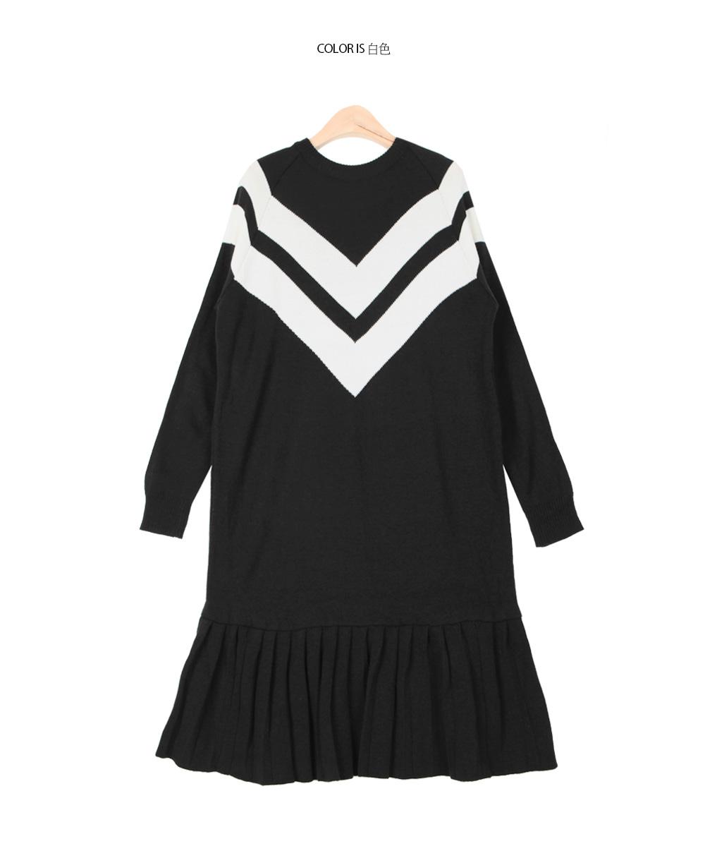 时尚配色褶裥连衣裙