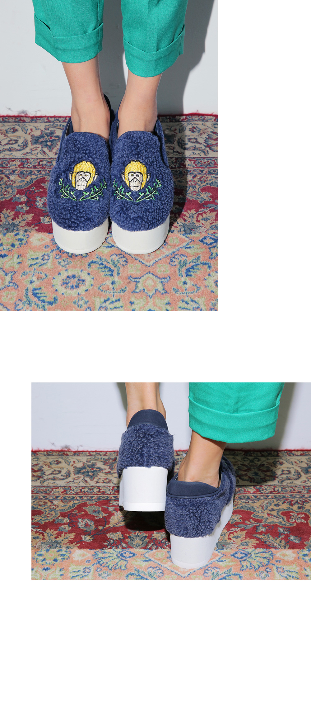 Monkey Patched Sherpa Platform Shoes|stylenanda