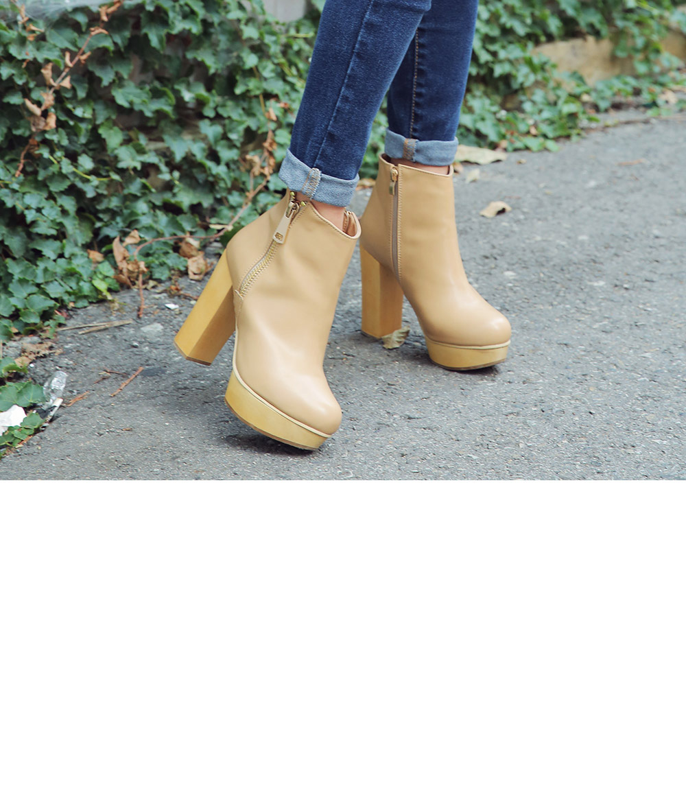 Simple Zipped Wooden Heel Ankle Boots|stylenanda
